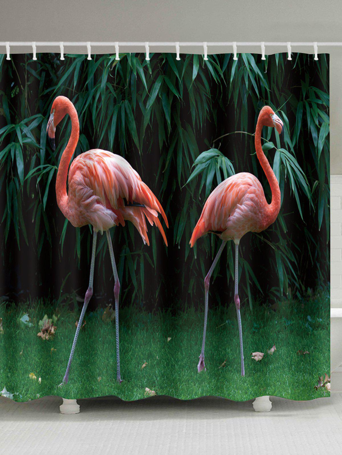 Flamingo Fabric Extra Long Shower Curtain - DEEP GREEN W71 INCH * L79 INCH