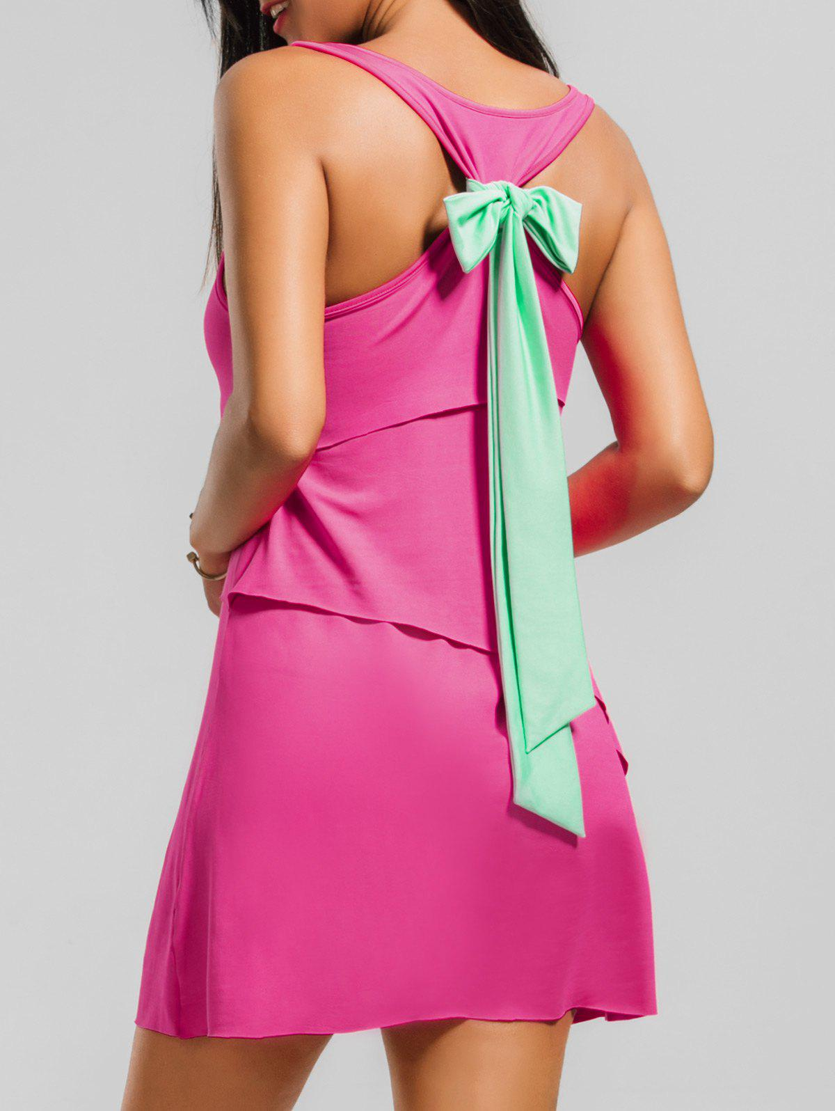 Layered Back Bowknot Mini Tank Dress - TUTTI FRUTTI M