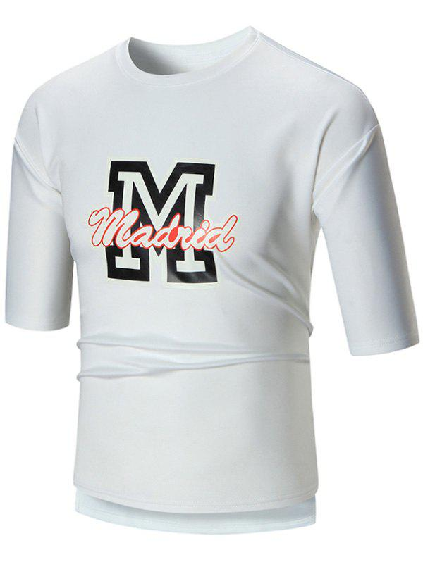 High Low Hem Crew Neck Graphic Tee White M In T Shirts