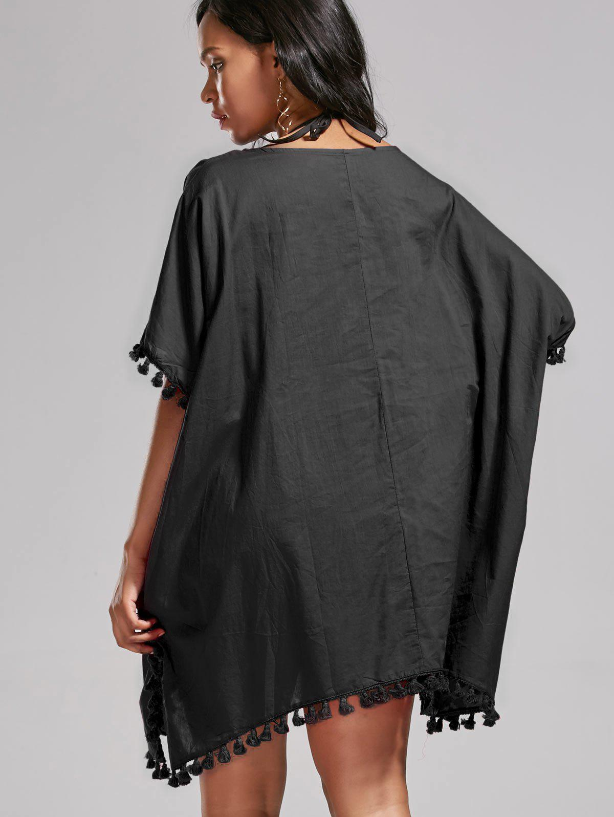 Batwing Sleeve Oversized Cover Up Dress - BLACK ONE SIZE
