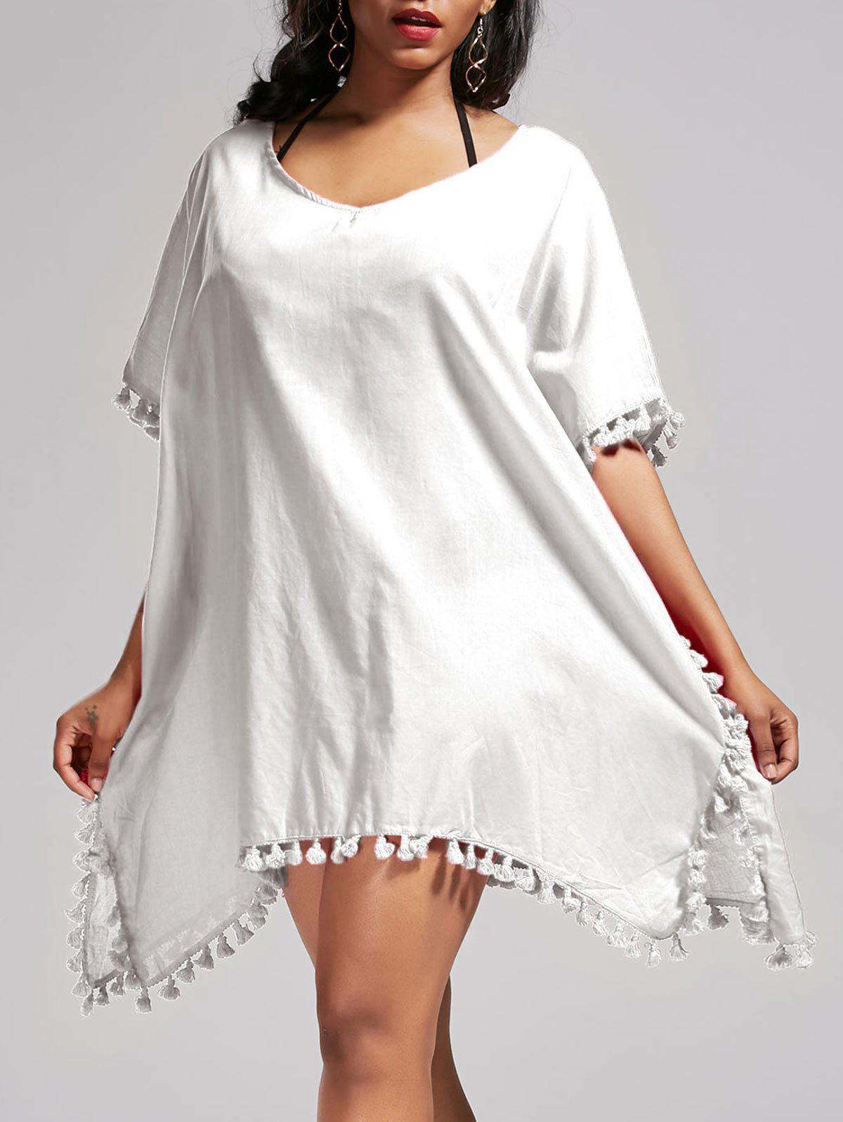 Batwing Sleeve Oversized Cover Up Dress - WHITE ONE SIZE