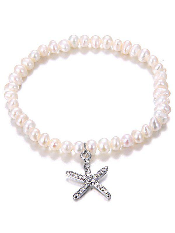 Starfish Pendant Artificial Pearl Rhinestone Inlaid Bracelet - SILVER