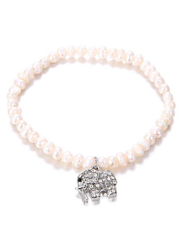 Rhinestone Inlaid Elephant Pendant Artificial Pearl Bracelet - SILVER