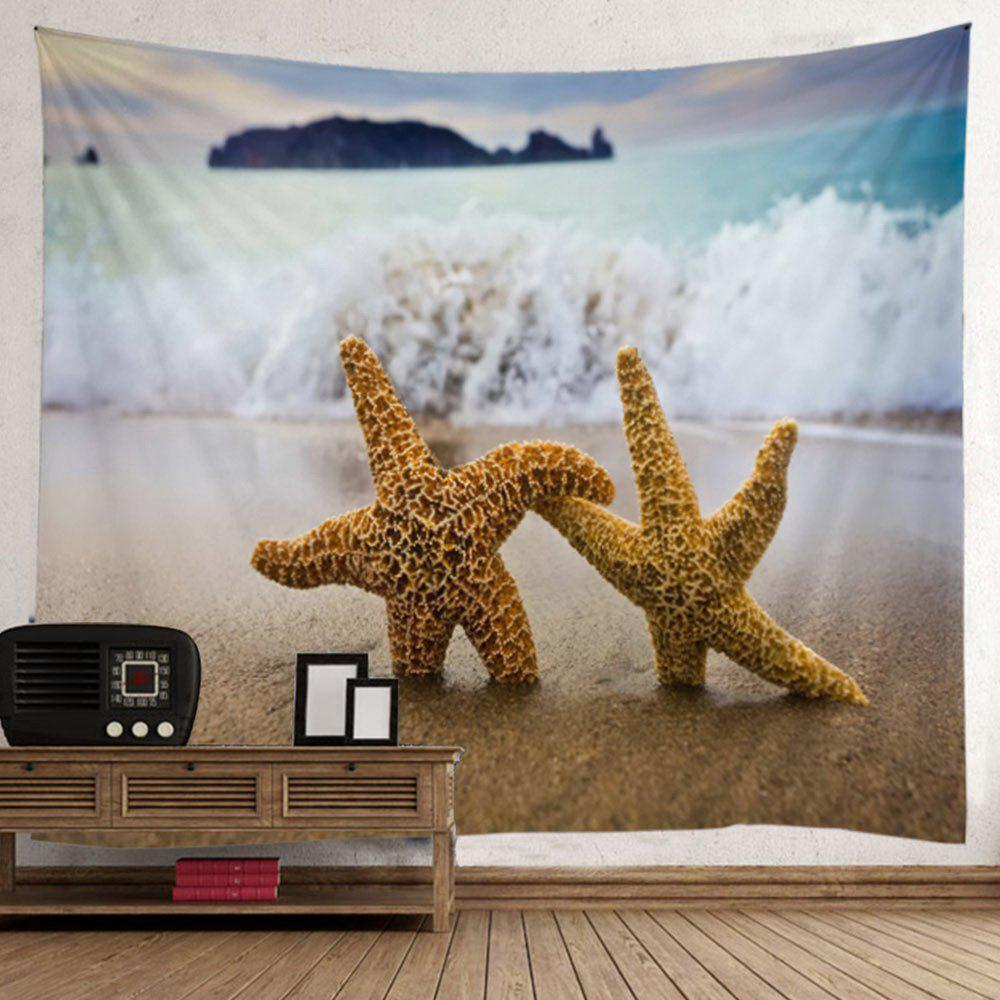 Starfish Beach Wave Wall Tapestry - LIGHT BLUE W59 INCH * L79 INCH
