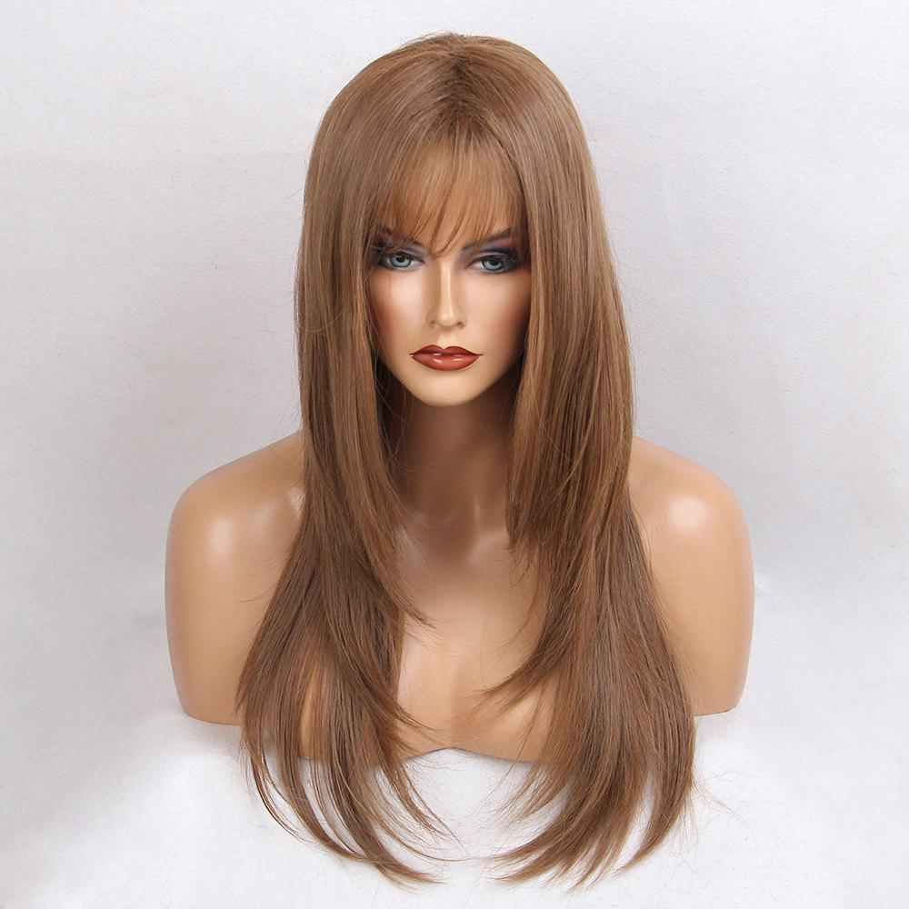 Long Side Bang Glossy Straight Synthetic Wig qiyi charming glossy side bang long straight cosplay wig