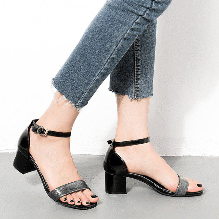 Chunky Mid Heel Ankle Strap Sandals