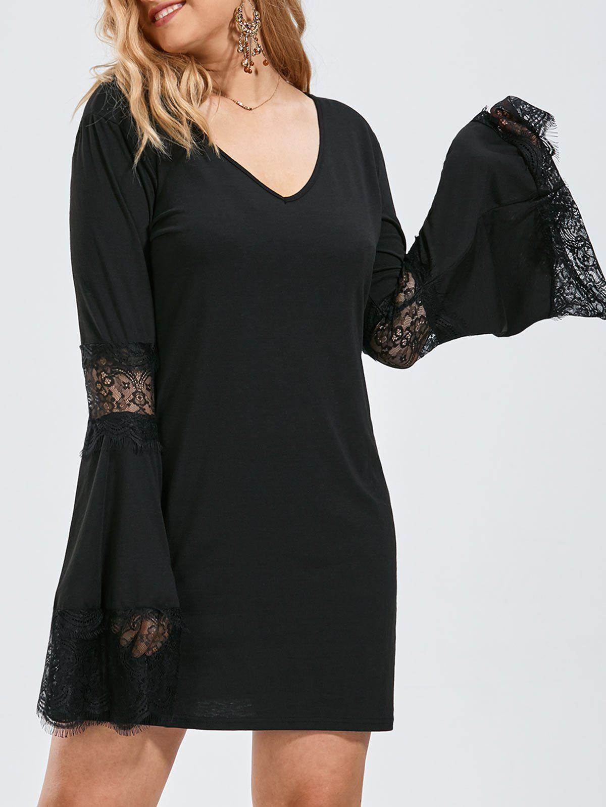Plus Size  Bell Sleeve Lace Crochet Panel Tee Dress sheer lace panel plus size leggings