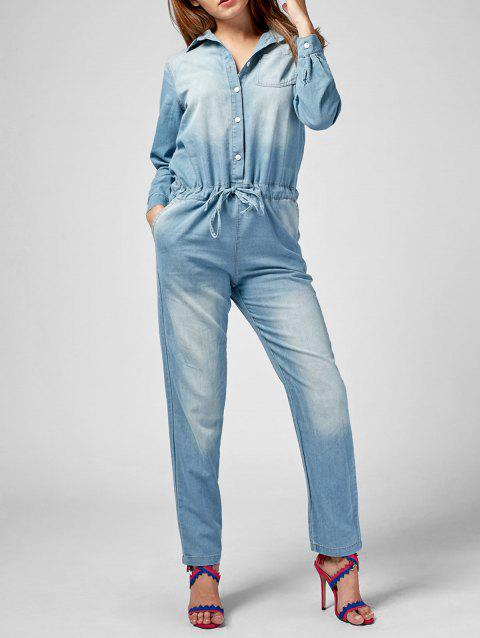 1216a3e9725 2019 Long Sleeve Drawstring Denim Jumpsuit In LIGHT BLUE 2XL ...