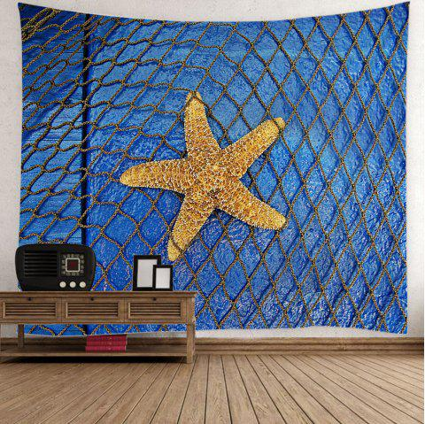 Starfish Fishing Net Print Home Decor Tapestry - LIGHT BLUE W59 INCH * L59 INCH