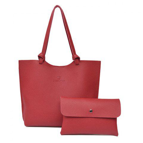 Pebble PU Leather Crossbody Bag and Shoulder Bag - WINE RED