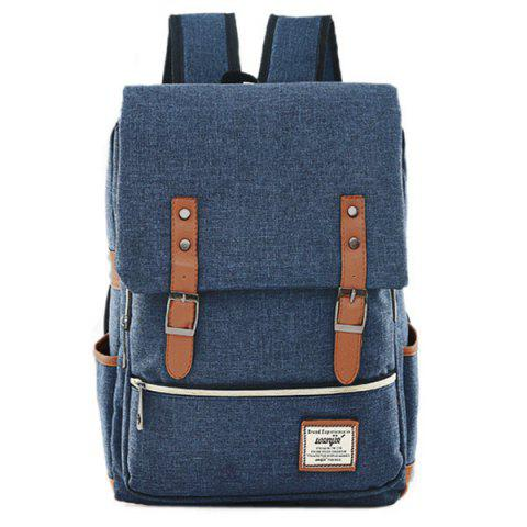 Buckle Straps Canvas Flap Backpack - DEEP BLUE