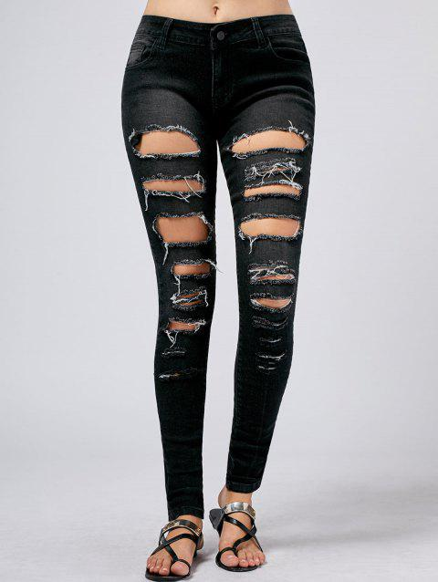 Five Pockets Ripped Hole Jeans - BLACK XL