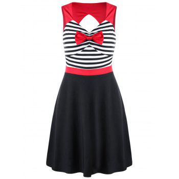 Striped Bowknot Cut Out Mini Dress