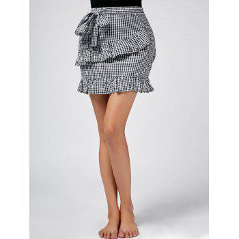 Checked Ruffle Trim Self-tie Skirt - BLACK WHITE BLACK WHITE