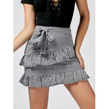 Checked Ruffle Trim Self-tie Skirt
