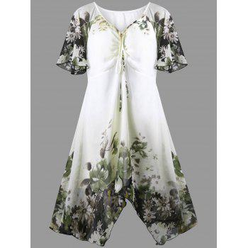 Plus Size Lotus Print Empire Waist Dress