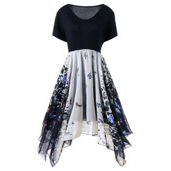 Plus Size Butterfly Print Handkerchief Dress