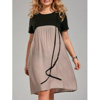 Plus Size Color Block Knee Length Smock Dress