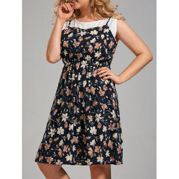 Plus Size Floral Printed Sleeveless Knee Length Dress
