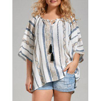 Plus Size Tribal Printed Bohemian Blouse with Tassel