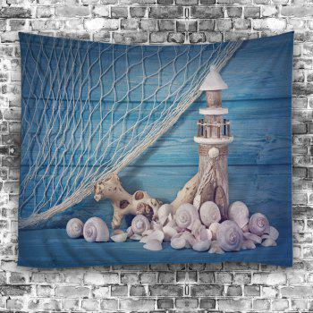 Fishing Net Conch Lighthouse Print Wall Tapestry - W51 INCH * L59 INCH W51 INCH * L59 INCH