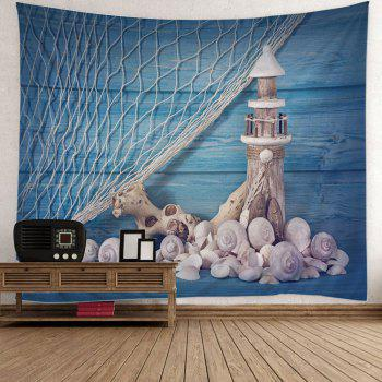 Fishing Net Conch Lighthouse Print Wall Tapestry - BLUE W51 INCH * L59 INCH
