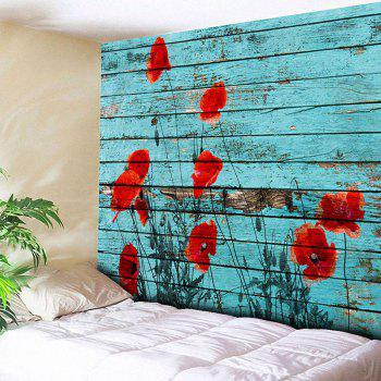 Wall Hanging Wood Grain Floral Print Tapestry - BLUE W79 INCH * L59 INCH