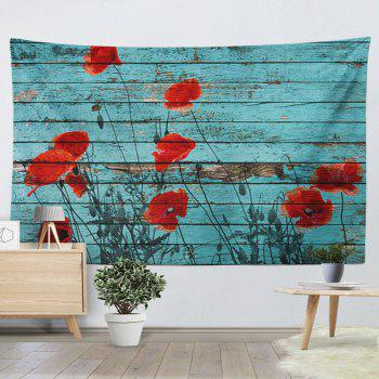 Wall Hanging Wood Grain Floral Print Tapestry - BLUE BLUE