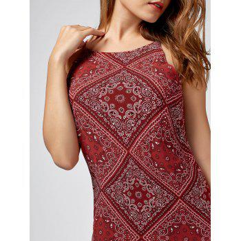 Spaghetti Strap Paisley Print Mini Dress - M M