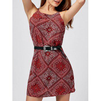 Spaghetti Strap Paisley Print Mini Dress - RED M