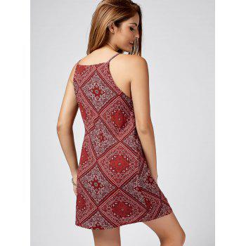 Spaghetti Strap Paisley Print Mini Dress - RED L