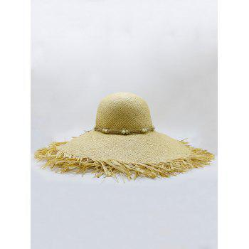 Beaded Decoration Sun Straw Floppy Hat -  YELLOW