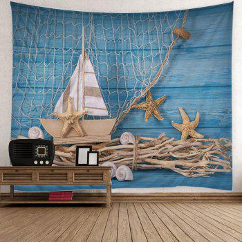 Wall Hanging Fishing Net Boat Starfish Print Tapestry - LIGHT BLUE LIGHT BLUE