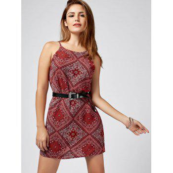 Spaghetti Strap Paisley Print Mini Dress - RED RED