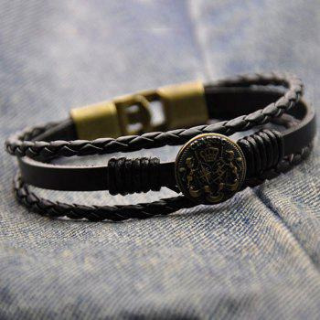 Round Badge Faux Leather Braided Bracelet - BRONZE