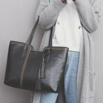 Tassel Contrast Stitching Shoulder Bag