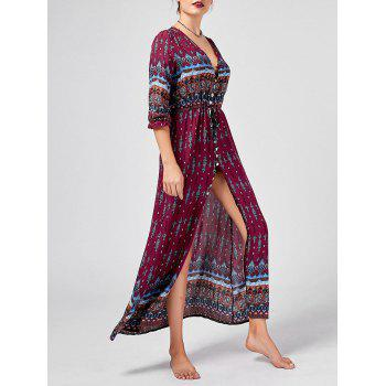 Tribal Print Button Down Split Bohemian Dress - WINE RED M