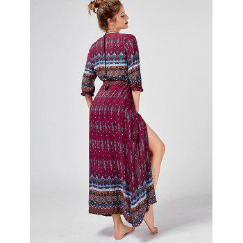 Tribal Print Button Down Split Bohemian Dress - WINE RED WINE RED