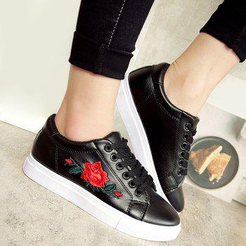 Faux Leather Embroidered Athletic Shoes - BLACK 38