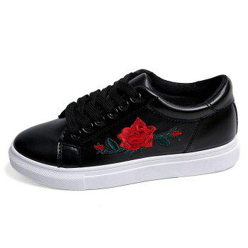 Faux Leather Embroidered Athletic Shoes - 38 38