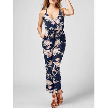 Floral High Waisted Backless Jumpsuit