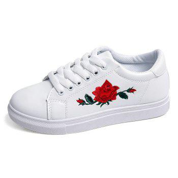 Faux Leather Embroidered Athletic Shoes - 39 39