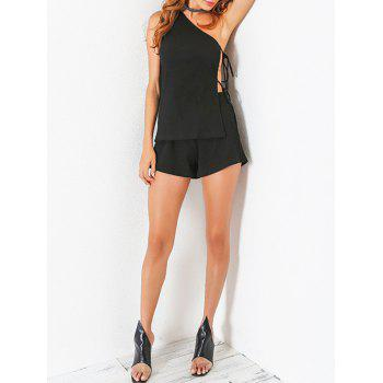 Ribbed Cut Out One Shoulder Top with Shorts - BLACK BLACK