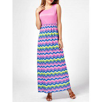 High Waisted Colorful Printed Maxi Dress