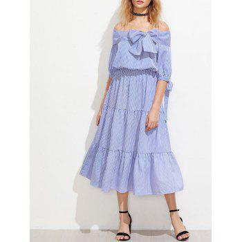 Off The Shoulder Striped Tiered Night Out Dress
