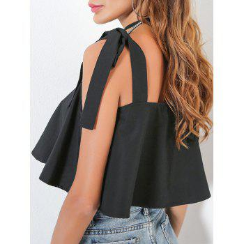 Ruffle Self Tie Sleeve Crop Slip Top - BLACK S
