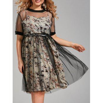 Plus Size Floral Cami Dress and Sheer Tee Dress with Belt