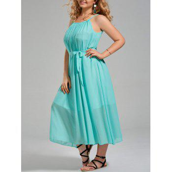 Plus Size Long Chiffon Cami Dress with Belt