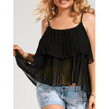 Plus Size Pleated Chiffon Ruffle Cami Top
