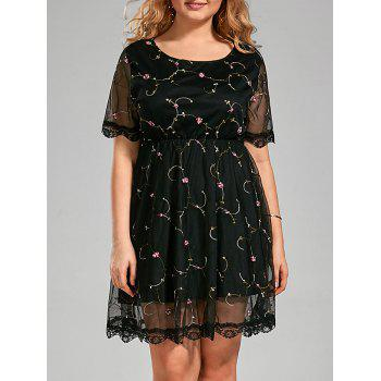 Plus Size Embroidered Semi Sheer Dress with Lace Trim